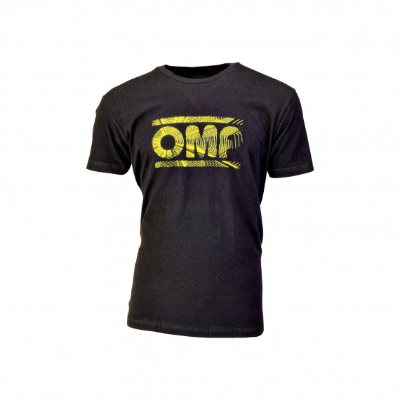 OMP BLACK T-SHIRT WITH YELLOW LOGO